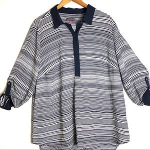 Vince Camuto Blue Striped Popover Blouse Size 3X